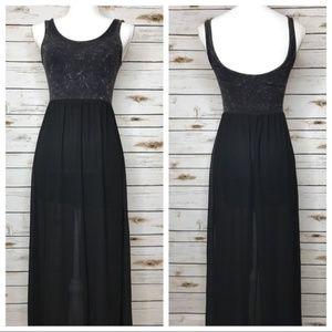 H&M Acid Wash Sheer Maxi Slit Dress Size 2